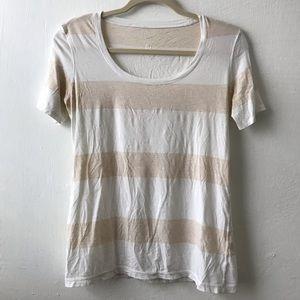 Lululemon White and Tan Striped Short Sleeve Tee